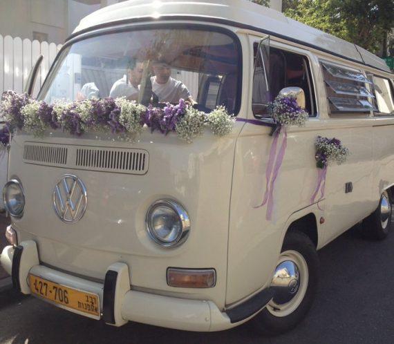 1A3-570x498 קישוט לרכב חתן כלה מפרחים בגווני סגול ולבן